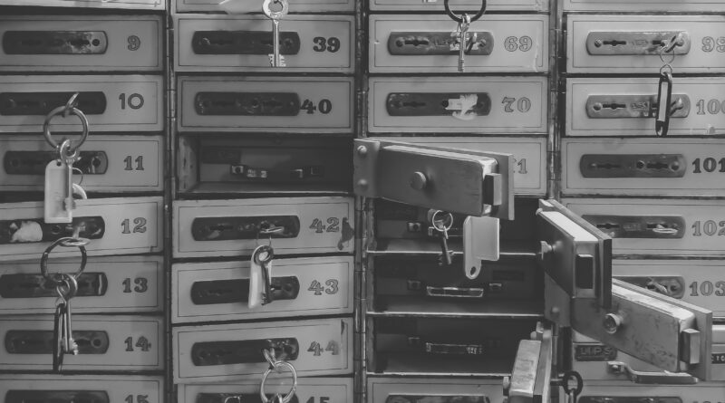 grayscale photography of door lockers